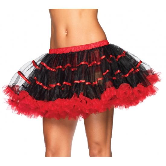 Zwart met rood onderrok petticoat luxe