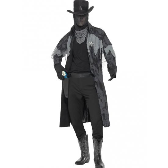 Zwart spook kostuum cowboy