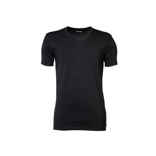 Zwart strak heren t shirt met V hals