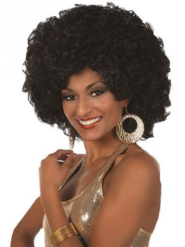 Zwarte disco pruik voor dames