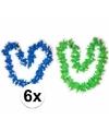 Hawaii thema bloemenslingers groen/blauw 6 pers