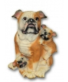 Stenen Bulldog met puppies zittend 35 cm